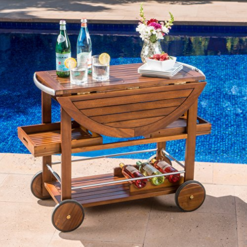 Great Deal Furniture Tiller Outdoor Dark Acacia Wood Bar Cart