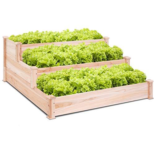 Giantex 3 Tier Wooden Elevated Raised Garden Bed Planter Kit