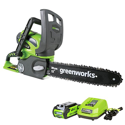 Greenworks 12-Inch 40V Cordless Chainsaw, 2.0 AH Battery Included