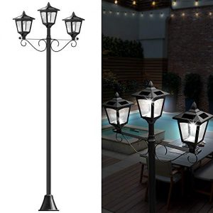 "72"" Solar Lamp Post Lights Outdoor, Triple-Head Street Vintage"