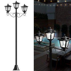 "72"" Solar Lamp Post Lights Outdoor, Triple-Head Street Vintage"