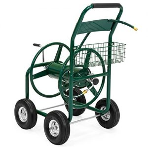 Best Choice Products 300ft Water Hose Reel Cart w/ Basket for Outdoor Garden