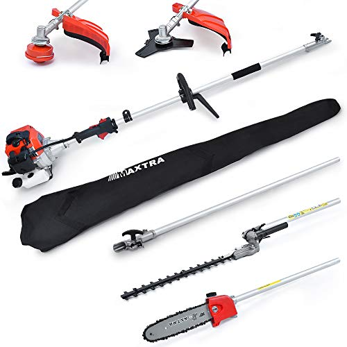 Maxtra 42.7cc Powerful 8.2 FT to 11.4 FT Extension 4 in 1 Gas Hedge Trimmer