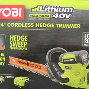 "Ryobi 40-Volt Cordless Hedge Trimmer 24"" includes Lithium-Ion Battery plus Charger"