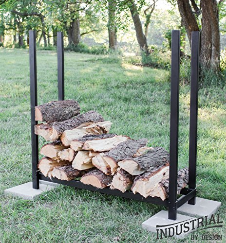 100% Steel Deluxe 4-ft Firewood Log Rack - Heavy Duty