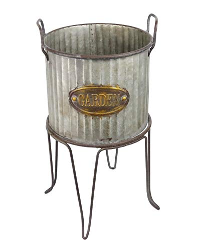 Alpine Corporation Large Metal Outdoor Flower Planter with Stand