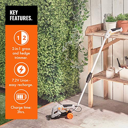 VonHaus 7.2V 2 in 1 Grass and Hedge Trimmer | Battery Powered Cordless