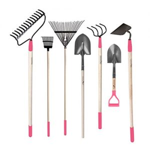 GardenAll 7-Pieces Women Garden Tools Set- Include 14Tine Bow Rake