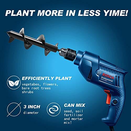 """PHELRENA Spiral Drill Bit - 3.5"""" Non-Slip Garden Grass Plug Plant Flower Bulb"""