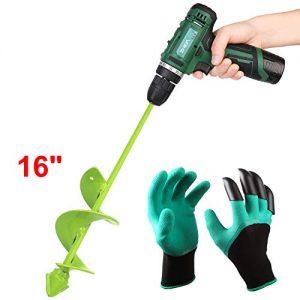 "BLIKA Auger Drill Bit, Garden Plant Flower Bulb Auger 3"" x 16"" Rapid Planter"