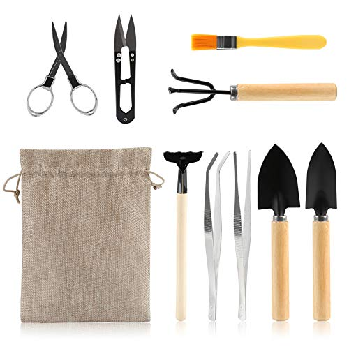 LIHAO 9 Piece Basic Bonsai Tools Set, Includes Pruning Shears