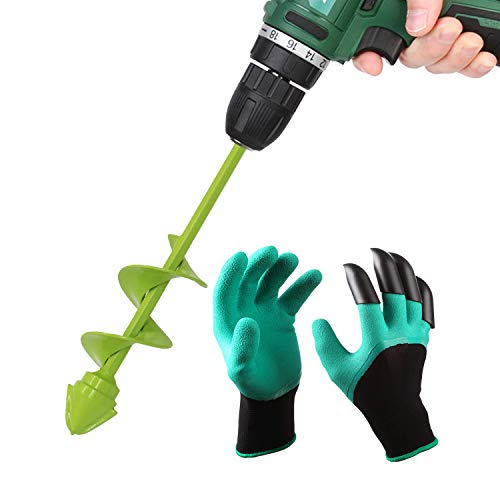 UGarden Bulb & Bedding Plant Auger, with Garden Genie Gloves