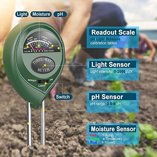 Pancellent 12 in 1 Soil Meter (3-in-1 Moisture Sensor/Sunlight/pH,9pcs Bonsai Tools)