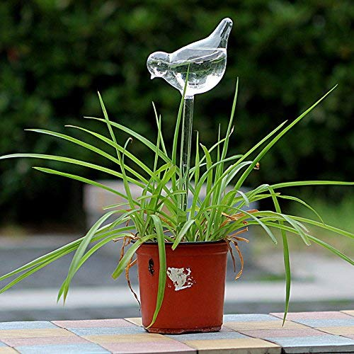 3 Pack Plant Waterer Self Watering Globes,Bird Shape Hand Blown Transparent