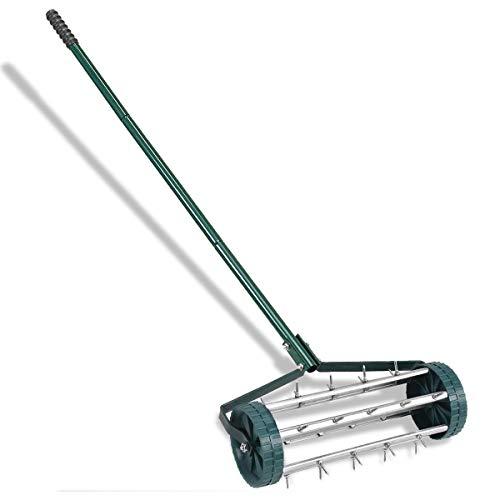 Heavy Duty Rolling Garden Lawn Aerator Roller Home Grass Steel