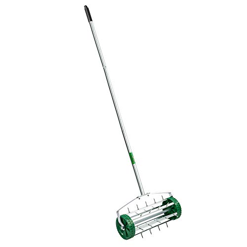 VINGLI Rolling Lawn Aerator with 51'' Handle, Push Spike Tine Roller