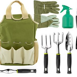 Vremi 9 Piece Garden Tools Set - Gardening Tools with Garden Gloves