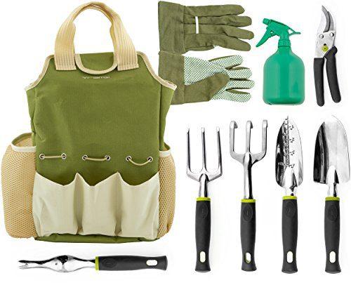 Vremi 9 Piece Garden Tools Set - Gardening Tools with Garden Gloves