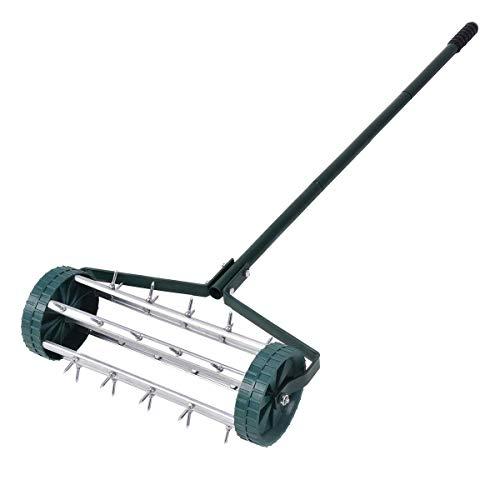 Rolling Lawn Aerator 18-inch Garden Yard Rotary Push Tine Heavy Duty