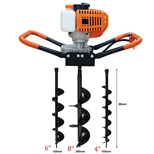 52CC 2-Stroke Gas Powered Post Hole Digger Earth Auger +3 Bits