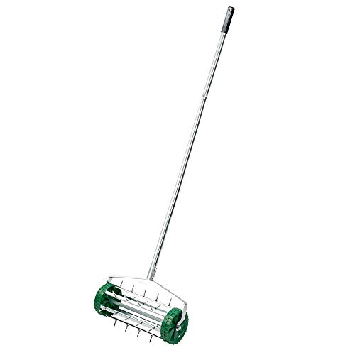 MOPHOTO Rolling Lawn Aerator, 18 Inch Lawn Aerator Gardening Tool