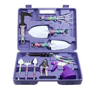Vanshi Garden Tools Set, 10 Piece Gardening Tools with Purple Flower Print