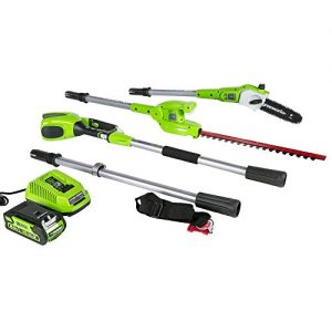 Greenworks 8 Inch 40V Cordless Pole Saw with Hedge Trimmer Attachment