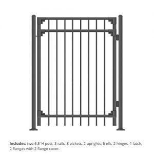 XCEL - Black Steel Fence Gate Cortina Style Flat End Pickets