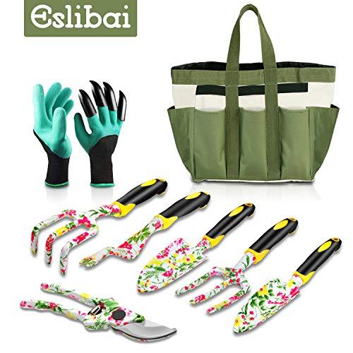 Eslibai Garden Tools Set, 9 Gardening Tools with Soft Garden Gloves