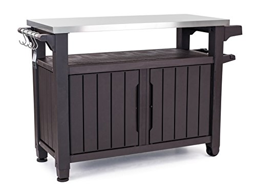 Keter Unity XL Indoor Outdoor Entertainment BBQ Storage Table/Prep Station