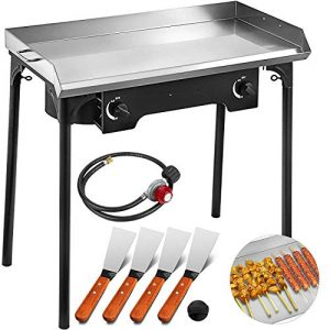 VEVOR Flat Top Griddle Grill & Propane Fueled 2 Burners Stove Stainless Steel