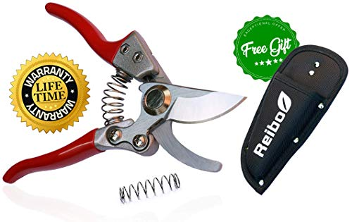 """8"""" Professional Garden Bypass Pruning Shears with Free Holster"""