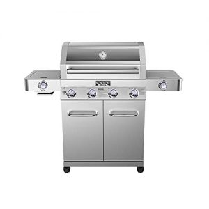 Monument Grills Clearview Lid 4 Burner with Side Sear Burner Propane