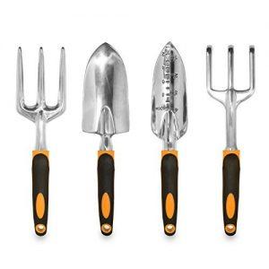 GardenHOME Ergonomic Garden Tools 4 Piece Tool Set with Trowel