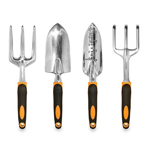 GardenHOME Ergonomic Garden Tools 4 Piece Tool Set with Trowel