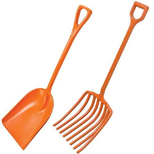 AM Leonard Poly Scoop Shovel and Scoop Fork with D-Grip Handles