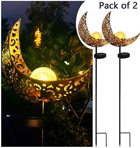 Solar Powered Garden Lights, 2 Pack Antique Brass Hollow-Carved Metal Moon