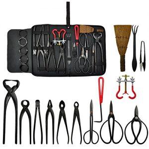 Voilamart 14 Piece Bonsai Tools Kit with Case, Carbon Steel