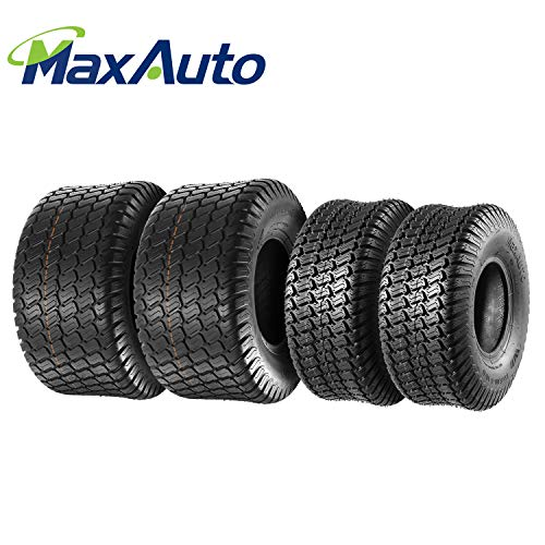 Set of 4 Lawn Mower Turf Tires 15x6-6 Front & 18x9.5-8 Rear Tractor Riding