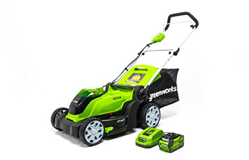 Greenworks 17-Inch 40V Cordless Lawn Mower, 4.0 AH Battery Included