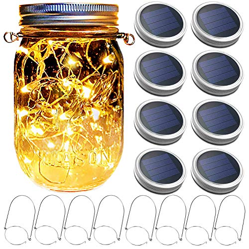 Mason Jar Solar Lantern Lights, 8 Pack 30 LED Bulbs Fairy Star Firefly Solar Lids