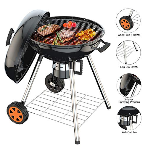 TACKLIFE 22.5 inch Charcoal Grill, Outdoor Grilling Barbecue
