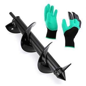 """Skelang 3""""×12"""" Gardening Auger Spiral Drill Bit with Garden Genie Gloves"""