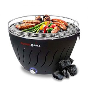 Portable Grill | Smokeless | Stainless Steel Electric Indoor/Outdoor Charcoal BBQ Grill W/Battery Operated Fan | Perfect for Your Barbeque - Includes Travel Bag for Camping & Picnic.