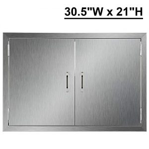CO-Z Outdoor Kitchen Doors, Brushed Stainless Steel Double