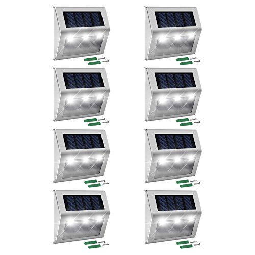 Solar Step Lights with Larger Battery Capacity JACKYLED 8-Pack Stainless Steel