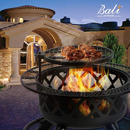 BALI OUTDOORS 32in Wood Burning Fire Pit Backyard Grill ...