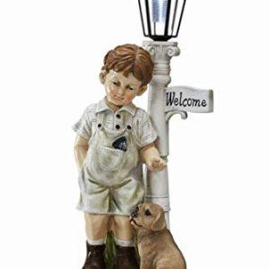 Outdoor Garden Decor Little Boy Statue with Solar Light