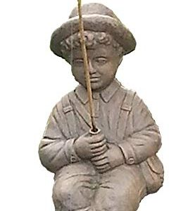 Fishing Boy Cast Stone Statue-sculpture/pond and garden decor/accent