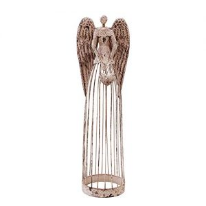 Antiqued Metal Garden Angel Statue with Heart, Indoor Outdoor Angel